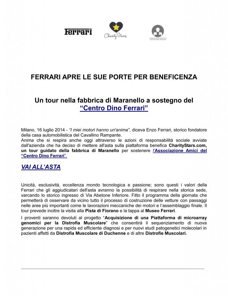 Ferrari apre le sue porte per beneficenza cdf